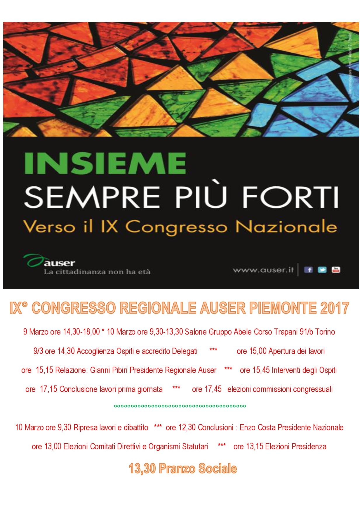 IX CONGRESSO REGIONALE AUSER PIEMONTE